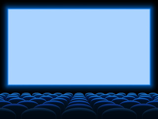 Movie cinema screen vector background template with empty blue seat chairs