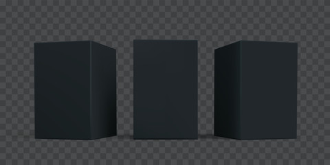 Black carton box package mock-up set. Vector isolated 3D black cardboard or paper package boxes models templates