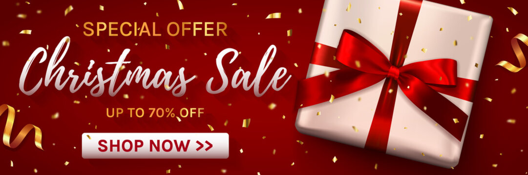 Christmas sale web banner. Template for holiday discounts. Elegant design with gift box and gold confetti. Vector illustration.
