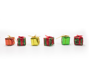 line of gift box isolated in white background top view.