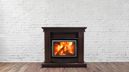 Fireplace on white brick wall in bright empty living room interior of house