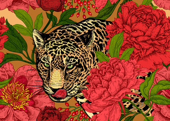 Seamless floral pattern with Leopard and peonies.