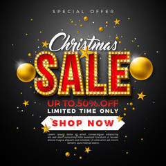 Christmas Sale Design with Ornamental Ball and Light Bulb Lettering on Black Background. Holiday Vector Illustration with Special Offer Typography Elements for Coupon, Voucher, Banner, Flyer