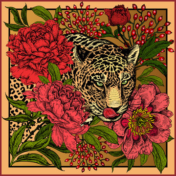 Print with animal leopard and flowers peonies.