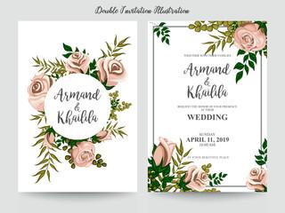 colorful floral watercolor invitation design illustration
