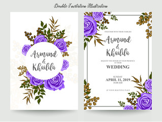 colorful floral watercolor invitation design illustration