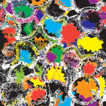 Seamless pattern with colorful  grunge striped zigzag elements on black backgrounnd for web desig