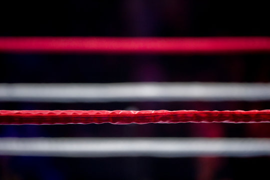 Boxing ring ropes with a blur spotlight
