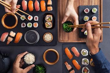 Printed roller blinds Sushi bar Sharing and eating sushi food