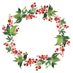 Christmas Watercolor wreath of holly berries