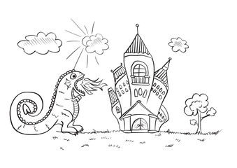 Children's drawing with a fire-breathing dragon attacking the castle. Vector sketches with characters of fairy-tales.