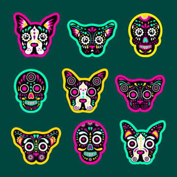 Fashion patch badges with dogs, bulldog, Skulls, calavera, and other. Very large set of girlish and boyish stickers, patches in cartoon isolated.Trendy stickers print for backpacks, things, clothes