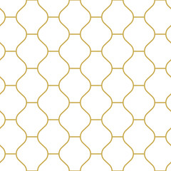 Oriental style tiling ornament in gold. Seamless vector pattern