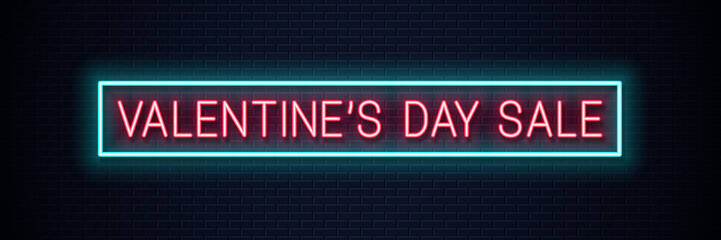 valentines day sale neon banner on wall