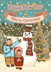 Merry Christmas and Happy New Year card, poster, cartoon colorful drawing, vector illustration, holiday background. Cute boy, girl and snowman with decorated spruce tree against a forest with snow