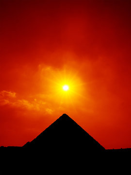 sunset sky at the pyramids of Giza Cairo Egypt
