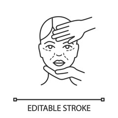 Cosmetologist examination linear icon