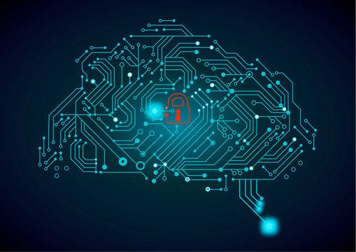 circuit board with brain / cloud