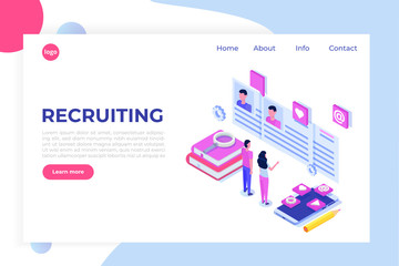 Recruitment, Job search isometric concept. Use for presentation, social media, cards, web banner. Vector illustration