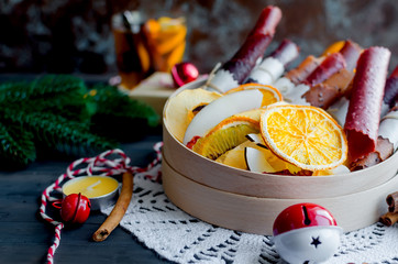 warming winter tea, dry fruits on xmas day
