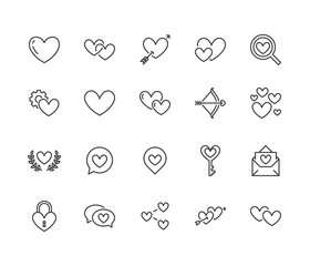 Heart flat line icons set. Love, dating site vector illustrations - two hearts shape, romantic date, private message, match. Thin signs for like, charity, wedding. Pixel perfect 64x64. Editable Stroke
