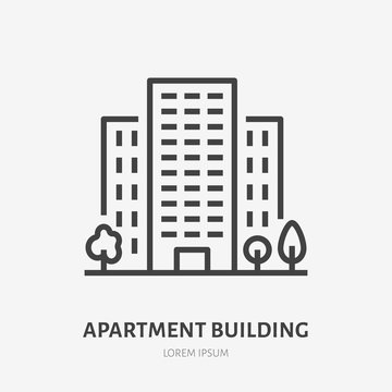 Apartment building flat line icon. Vector thin sign of multi-storey house, condo rent logo. Real estate illustration.