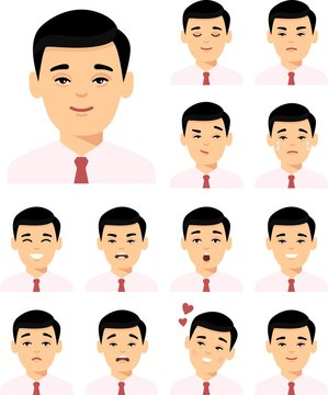 Set of different avatar asian man in colorful flat style. Collection of various emotion expression chinese avatar male happy, angry, sad, funny.