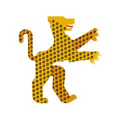 Leopard Heraldic animal. Fantastic Beast. Monster for coat of arms. Heraldry design element.