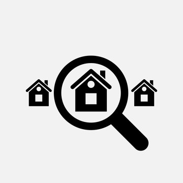 Looking for home icon. Search home symbol. Flat design. Stock - Vector illustration.