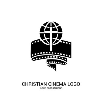 Christian cinema logo. Symbols of movies and videos for the ministry, conference, camp, festival, event.