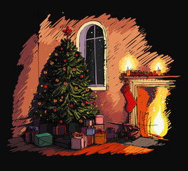 Cozy Christmas eve scene in the interior with a fireplace, Christmas tree and presents. Sketch style drawing.