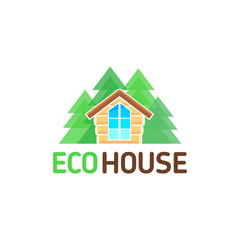 Vector logo wooden from a bar eco hut recreation nature forest