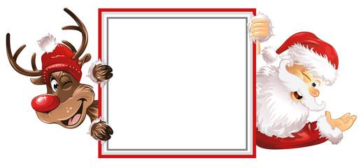 Weihnachtsmann Rudolph Schild rote Muetzen