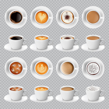 Realistic different sorts of coffee in white cups view from the top and side. Latte cappuccino espresso americano cocoa in realistic cups. 3d vector mugs for cafe menu.
