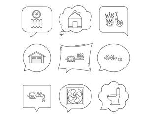 Ventilation, garage and heat radiator icons.