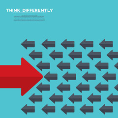 The arrrow is moving against the mainstream. Think differently. Stand out from the crowd concept.