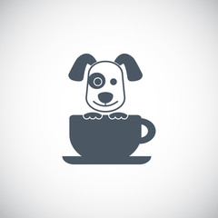 Cute dog with coffee cup logo vector.