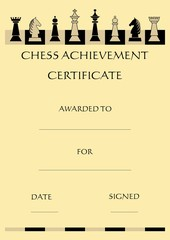 Chess achievement certificate with complet set chess pieces on chessboard, beige background in old paper style, vector template