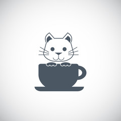 Cute cat with coffee cup logo vector.