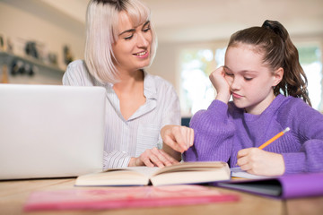 Female Home Tutor Helping Young Girl Struggling With Studies