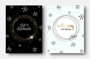 Merry Christmas greeting cards with abstract pattern with snow.