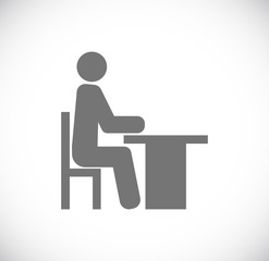 person sitting for table icon