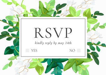 Floral wedding invitation or save the date card with green leaves, succulents, eucalyptus and white may flowers. Vector illustration.