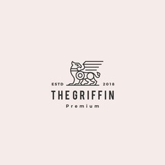 griffin logo retro vintage hipster label illustration
