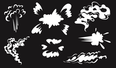 Smoke vector special effects set.Funny template on black background.Clipart element for game, print, advertising. Cartoon steam clouds,puff,fog,vapour or dust explosion VFX illustration