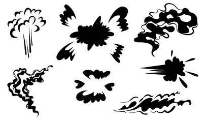 Smoke vector special effects set.Funny template on white background.Clipart element for game, print, advertising. Cartoon steam clouds,puff,fog,vapour or dust explosion VFX illustration