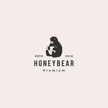honey bear logo hipster retro vintage vector icon illustration label