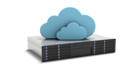 Computer server unit and storage cloud isolated on white background. 3d illustration