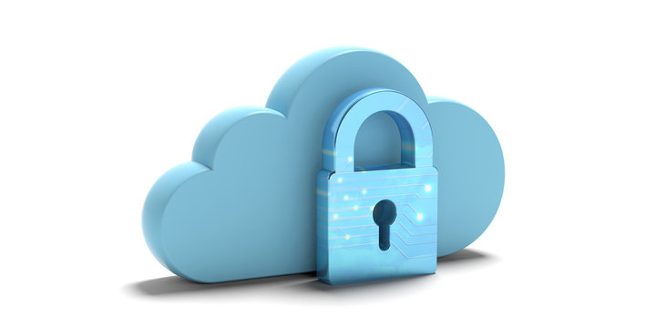 Cloud computing security. Blue cloud and padlock isolated on white background. 3d illustration