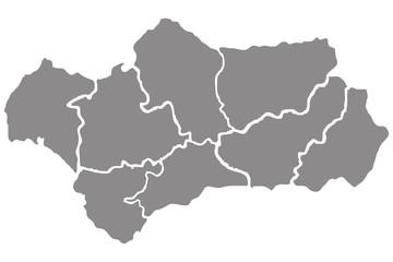 Mapa gris de Andalucía.